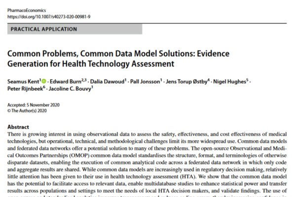 EHDEN publication in PharmacoEconomics – utility of the OMOP CDM in Health Technology Assessment