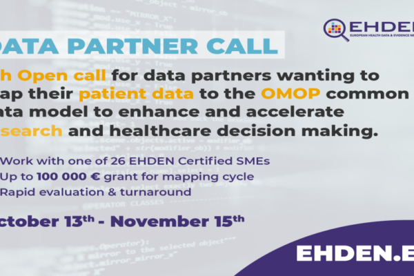 5th, open call for data partners wishing to map source data to OMOP CDM and collaborative research – Portal Open Wednesday 13th October 2021